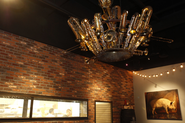 An art installation hangs from the ceiling inside Pot Liquor C.A.S. at Town Square in Las Vegas Saturday, Nov. 15, 2014. (Erik Verduzco/Las Vegas Review-Journal)