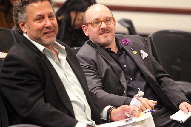 Bruce Gale, left, and Jason Sturtsman listen during a panel discussion about medical marijuanaճ impact on Nevada at United Way of Southern Nevada at 5830 W. Flamingo Road in Las Vegas on Thu ...