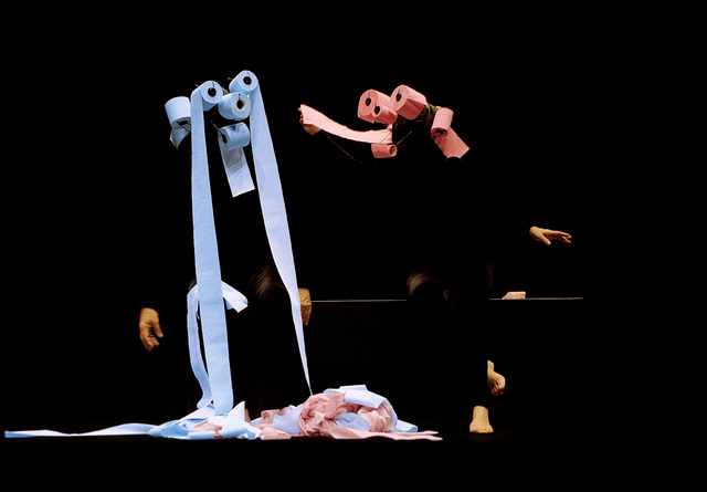 Rolls of toilet paper come alive -- and express multiple emotions -- thanks to members of the Mummenschanz mime troupe, who visit The Smith Center Tuesday. Courtesy photo.