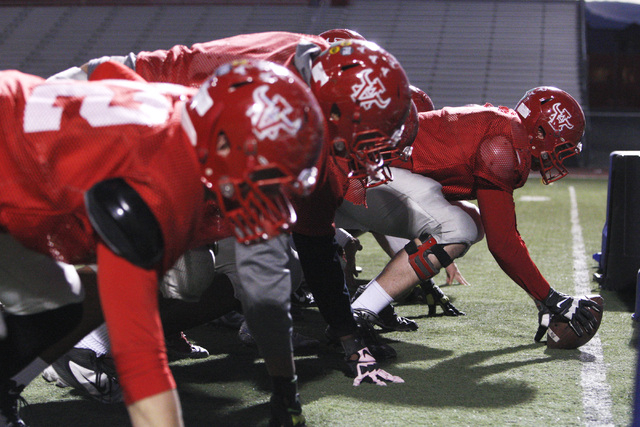 The Arbor View offensive line runs a drill during practice Wednesday, Nov. 19, 2014. Arbor View will face Bishop Gorman in the Sunset Region final game Friday. (Sam Morris/Las Vegas Review-Journal)