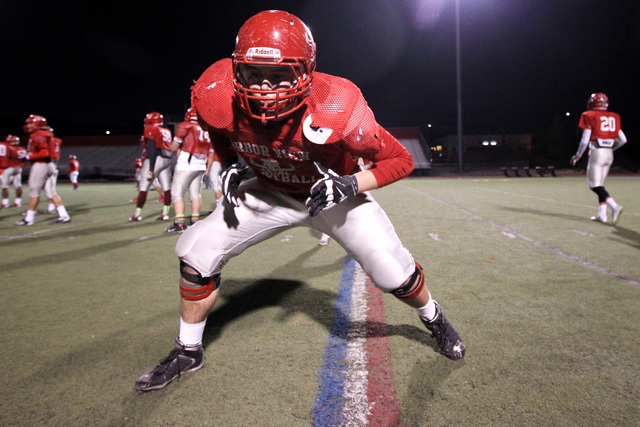 Arbor View center Blake Coggins runs a drill during practice Wednesday, Nov. 19, 2014. Arbor View will face Bishop Gorman in the Sunset Region final game Friday. (Sam Morris/Las Vegas Review-Journal)