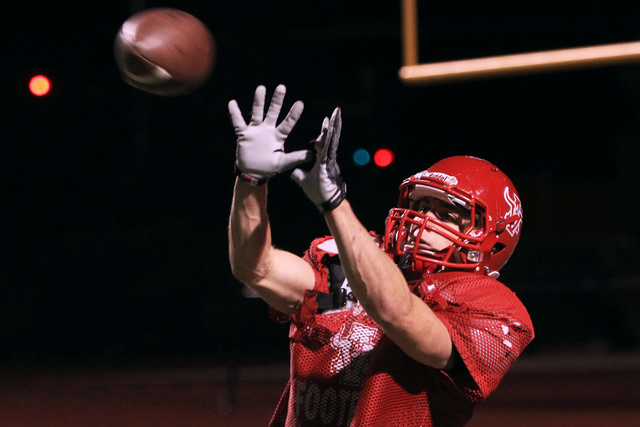 Arbor View tight end Mitchell Durkee catches a pass during practice Wednesday, Nov. 19, 2014. Arbor View will face Bishop Gorman in the Sunset Region final game Friday. (Sam Morris/Las Vegas Revie ...