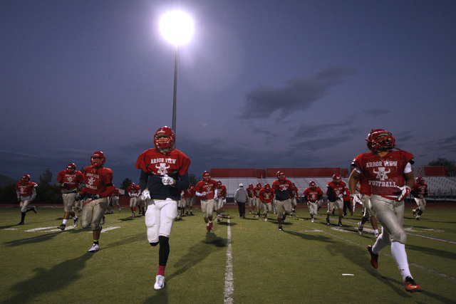 Arbor View players warm up during practice Wednesday, Nov. 19, 2014. Arbor View will face Bishop Gorman in the Sunset Region final game Friday. (Sam Morris/Las Vegas Review-Journal)
