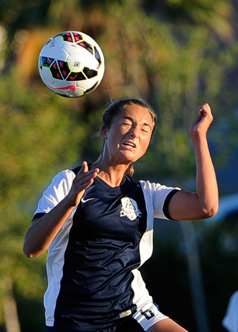 Foothill's Katherine Ballou heads the ball during a Sunrise Region girls soccer quarterfinal game against Las Vegas High at Heritage Park in Henderson on Tuesday, Nov. 4, 2014. Foothill won 3-0. ( ...