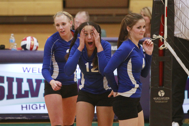 Basic's Kimberly Austin reacts after scoring against Las Vegas during their Sunrise Region volleyball quarterfinal game Tuesday, Nov. 4, 2014 at Silverado. (Sam Morris/Las Vegas Review-Journal)