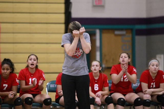 Las Vegas volleyball coach Susan Thurman reacts after a mistake during their Sunrise Region volleyball quarterfinal game against Basic Tuesday, Nov. 4, 2014 at Silverado. (Sam Morris/Las Vegas Rev ...