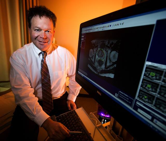 Dr. Mark Leo shows a test image of a MRI in his office at Urology Specialists of Nevada, 3150 N. Tenaya Way, on Wednesday, Oct. 22, 2014. Leo is using a new technique for determining the severity  ...