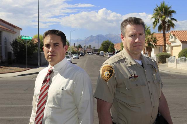 Rev. Matt Teis and Metro Capt. Christopher Tomaino are seen near Teis' Liberty Baptist Church Thursday, Oct. 9, 2014. (Sam Morris/Las Vegas Review-Journal)