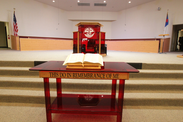 The new worship room is shown at Unity Baptist Church during a dedication and ribbon-cutting ceremony for their new building at 543 Marion Dr. in Las Vegas Friday, Oct. 31, 2014. The new building  ...