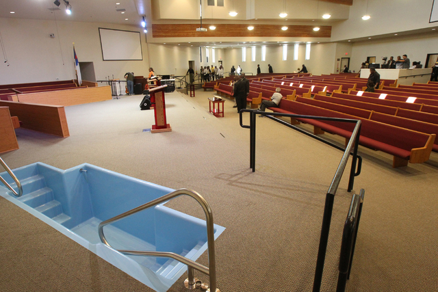 Unity Baptist Church members take tours during a dedication and ribbon-cutting ceremony for their new building at 543 Marion Dr. in Las Vegas Friday, Oct. 31, 2014. The new building will allow the ...