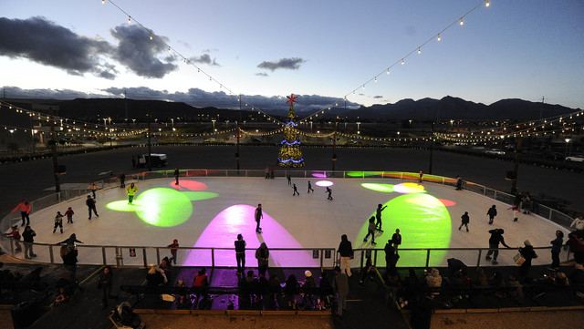 Rock Rink at Downtown Summerlin, shown Sunday, Nov. 30, 2014, opened Friday. The rink is 60 feet by 120 feet of real ice that's powered by a chilling machine to keep the rink cool. (Josh Holmber ...