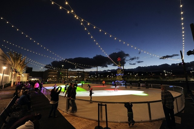 Skaters take to the ice at Rock Rink at Downtown Summerlin on Sunday, Nov. 30, 2014, in Las Vegas. The rink opened Friday. (Josh Holmberg/Las Vegas Review-Journal)