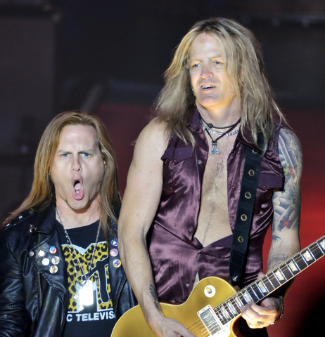 "Andrew Freeman, left, and Doug Aldrich perform during ""Raiding the Rock Vault"" in the showroom at the Tropicana hotel-casino at 3801 Las Vegas Blvd., South, in Las Vegas on Saturday, Nov ..."