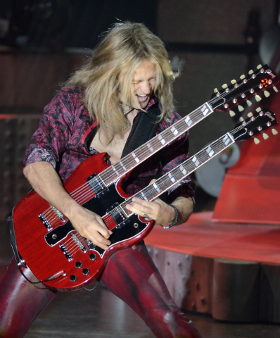 "Doug Aldrich performs during ""Raiding the Rock Vault"" in the showroom at the Tropicana hotel-casino at 3801 Las Vegas Blvd., South, in Las Vegas on Saturday, Nov. 8, 2014. (Bill Hughes/L ..."