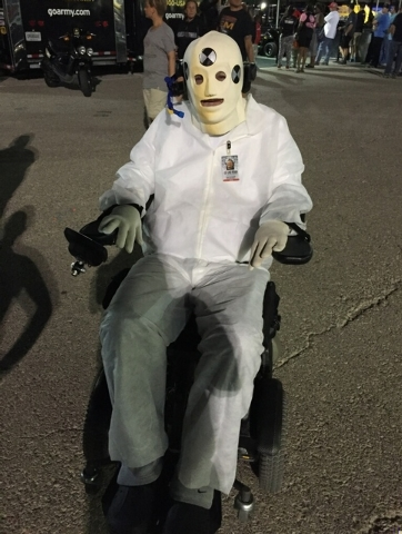 Didn't you used to play in an alternative rock band? IndyCar team owner Sam Schmidt of Las Vegas dressed up as a crash test dummy for Halloween. (Courtesy)