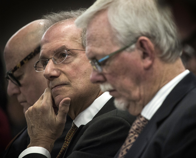 Ronald O. Perelman,left,  chairman of Scientific Games,  Barry F. Schwartz, Scientific Games executive vice chairman, and gaming attorney Frank Schreck during the Gaming Control Board hearing on t ...