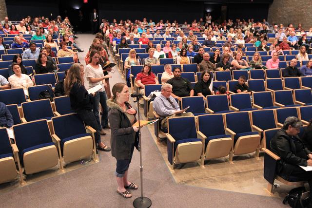 Parents line up to speak during a parental input meeting to discuss changes to the Clark County School District's sex education curriculum, Thursday, Nov. 6, 2014. (Sam Morris/Las Vegas Review-Jou ...