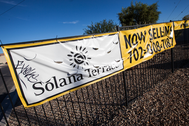 The sign for Solana Terrace, a community of about 50 homes built by Signature Homes, is seen near Las Vegas and Nellis boulevards in North Las Vegas  on Tuesday, Nov. 4, 2014. It will be the compa ...