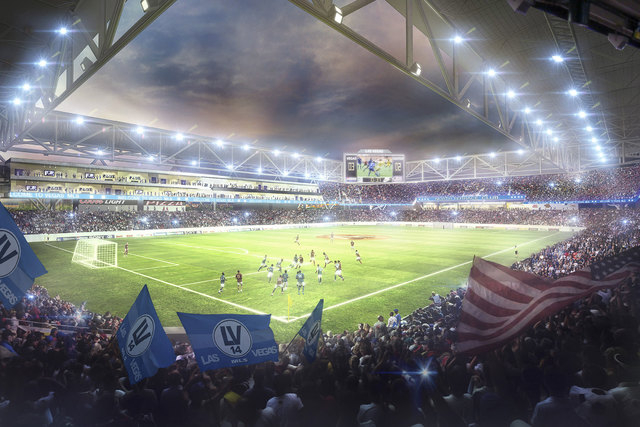 Artist's rendering of the Findlay Cordish soccer stadium proposal for Symphony Park, submitted September 2014. (Courtesy/Findlay Sports and Entertainment)