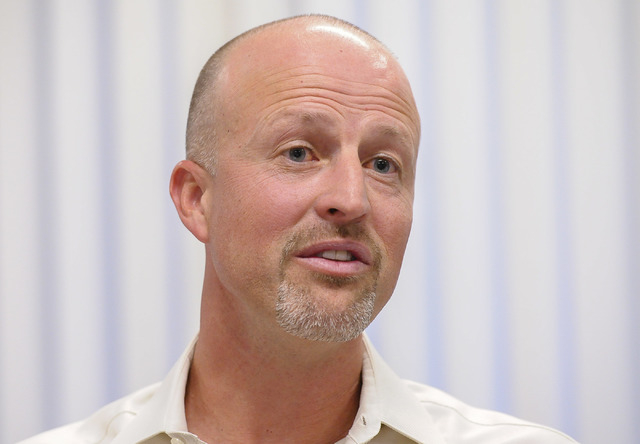 Justin Findlay, managing partner of Findlay Sports and Entertainment, speaks to the Las Vegas Review-Journal editorial board about the major league soccer stadium proposal on Tuesday, Nov. 11, 201 ...