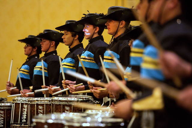 The Foothill High School marching band performs before the start of an orientation for new Clark County School District teachers Wednesday, Aug. 13, 2014 at The Venetian. The band is set to perfor ...