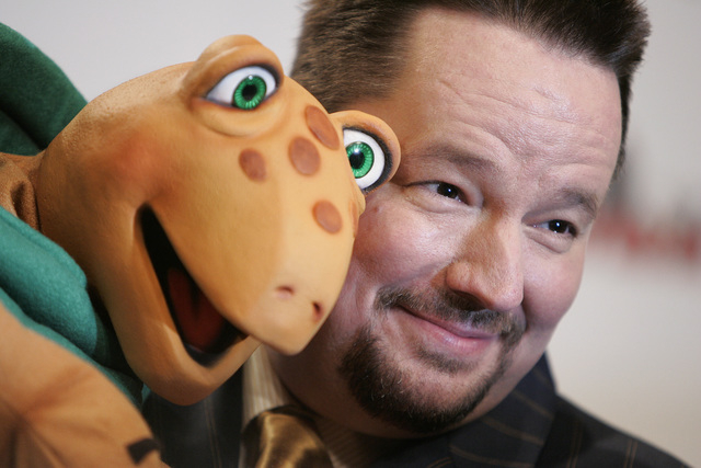 Ventriloquist Terry Fator poses with his Winston the Impersonating Turtle puppet while in the dressing room at The Mirage hotel-casino in Las Vegas, Tuesday, May 13, 2008. (John Locher/Las Vegas R ...