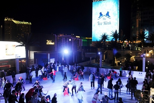The Cosmopolitan of Las Vegas once again transforms its Boulevard Pool, creating an ice rink complete with on-schedule snowfall. (Denise Truscello/Courtesy The Cosmopolitan)