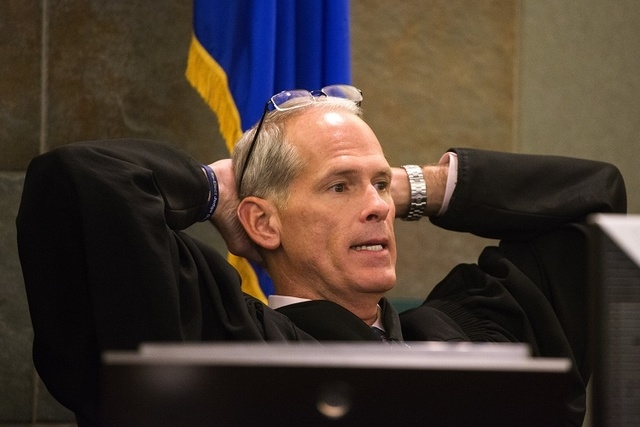 Judge Douglas Herndon speaks during the temporary restraining order hearing on Uber at Regional Justice Center on Wednesday, Oct. 29,2014. (Jeff Scheid/Las Vegas Review-Journal)