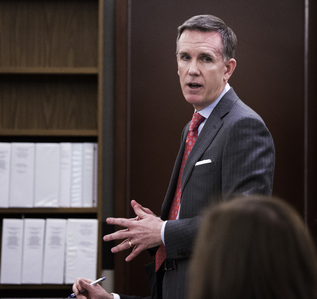 Uber lawyer Colby Williams speak during a hearing Monday, Nov.17, 2014 to determine whether ride-sharing company  can operate in Clark County. Williams accused the attorney generalճ office o ...