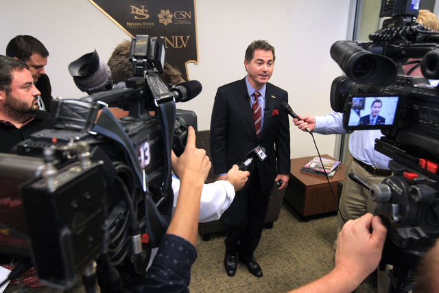 Incoming UNLV president Len Jessup talks to members of the media after being offered a contract by the NSHE Board of Regents Tuesday, Nov. 18, 2014. (Sam Morris/Las Vegas Review-Journal)