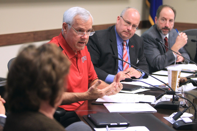 Nevada System of Higher Education regent Dan Klaich speaks during a meeting to approve a contract offer to UNLV president candidate Len Jessup Tuesday, Nov. 18, 2014. (Sam Morris/Las Vegas Review- ...