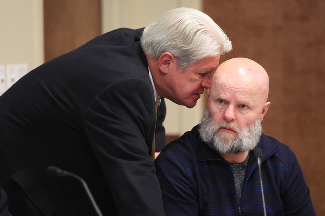 Nevada System of Higher Education regents Ron Knecht and James Dean Leavitt confer during a meeting to approve a contract offer to UNLV president candidate Len Jessup Tuesday, Nov. 18, 2014. (Sam  ...