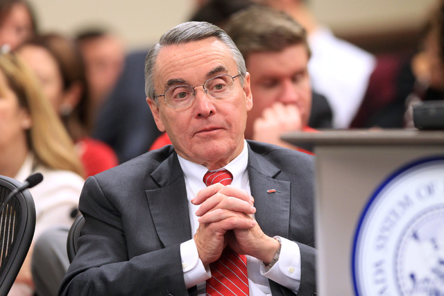 UNLV interim president Don Snyder listens during a meeting of the Board of Regents to approve a contract offer to UNLV president candidate Len Jessup Tuesday, Nov. 18, 2014. (Sam Morris/Las Vegas  ...