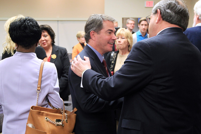 Incoming UNLV president Len Jessup is congratulated after accepting a contract offer from the Nevada System of Higher Education during a meeting of the Board of Regents Tuesday, Nov. 18, 2014. (Sa ...