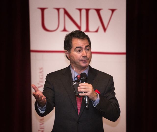 University of Arizona business school dean Len Jessup speaks to UNLV facility and students in Greenspun Auditorium on Wednesday, Nov.12, 2014. The Board of Regents voted Jessop in as the new UNLV  ...