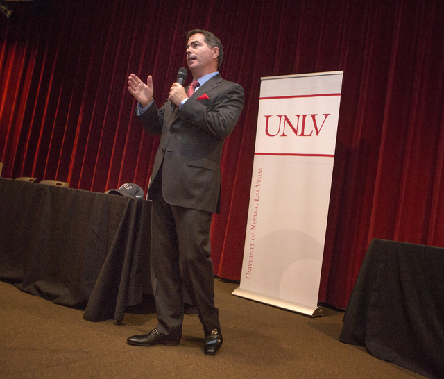University of Arizona business school dean Len Jessup speaks to UNLV facility and students in Greenspun Auditorium on Tuesday, Nov.12, 2014. The Board of Regents voted Jessop in as the new UNLV pr ...