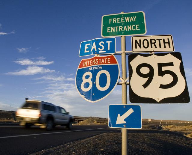 U.S. 95  merges with Interstate 80 west of Lovelock. (JEFF SCHEID/LAS VEGAS REVIEW-JOURNAL)