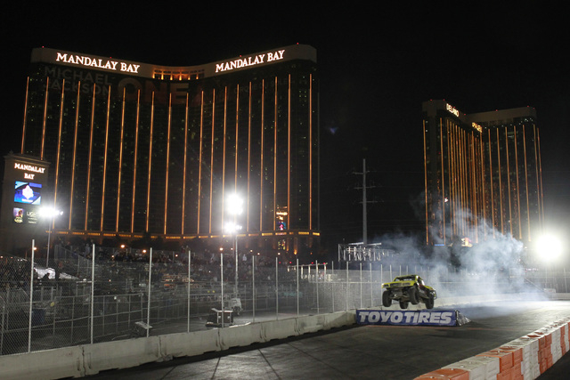 Offroad trucks take part in the SPEED Energy Formula Off-Road race at the MGM Resorts Village on the Strip Saturday, Nov. 1, 2014. (Sam Morris/Las Vegas Review-Journal)