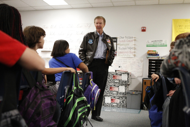 U.S. Army Veteran Gen. Ashley Hall speaks to a fifth grade class at Doris French Elementary School in Las Vegas Friday, Nov. 7, 2014. Veterans from a variety of wars have visited the elementary sc ...