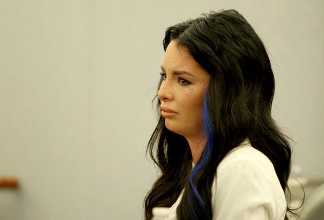 Christy Mack, ex-girlfriend of Jonathan Koppenhaver, aka War Machine, testifies during a preliminary hearing at the Las Vegas Regional Justice Center on Friday November 14, 2014. (Michael Quine/La ...