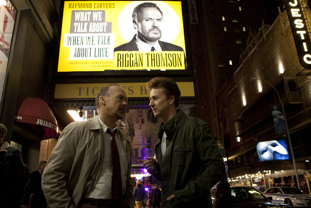 """Michael Keaton, left, stars as Riggan and Edward Norton is Mark in """"Birdman."""" (Courtesy/Fox Searchlight Pictures)"""