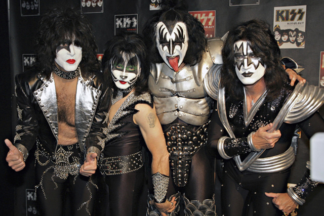 Members of Kiss, from left, Paul Stanley, Eric Singer, Gene Simmons and Tommy Thayer. (AP Photo/Volker Wiciok)