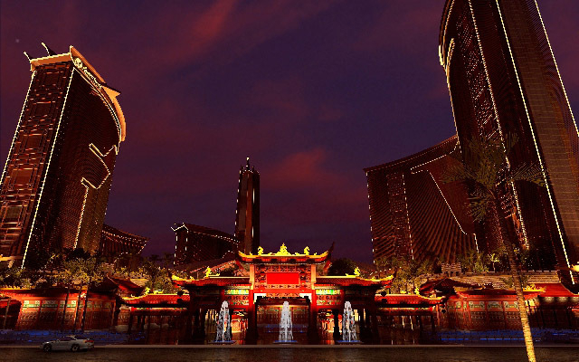 An artist's rendering of the Resorts World Las Vegas is displayed Monday. Genting Group wants to bring a live panda habitat, a replica of the Great Wall of China, a 7.5-acre indoor water amusement ...