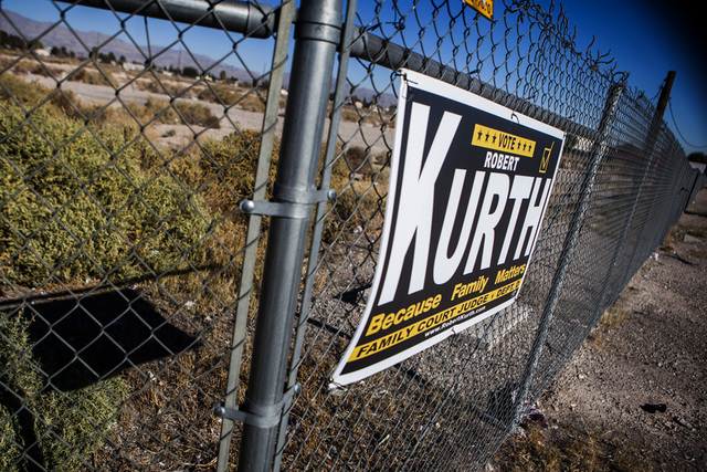 A political campaign sign is seen Wednesday on Las Vegas Boulevard across from the Silver Nuggett Casino in North Las Vegas, where the sign fee is increasing from $25 to $125. (Jeff Scheid/Las Veg ...