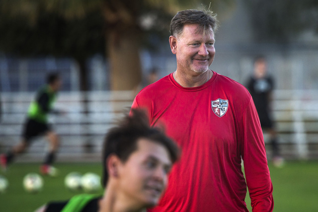 UNLV men's soccer coach Rich Ryerson guides his team during practice Monday, Nov. 10, 2014, at Peter Johann Field. The Rebels wrapped up the Western Athletic Conference regular-season title last ...