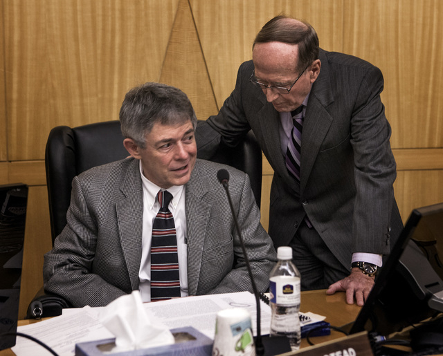 Robert J. Halstead, left, executive director Agency for Nuclear Projects and former Nevada Sen. Richard Bryan, chairman of the Agency for Nuclear Projects, during a Yucca Mountain nuclear waste pr ...