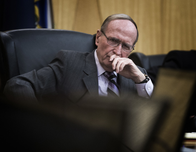 Former Nevada Sen. Richard Bryan, chairman of the Agency for Nuclear Projects, during a Yucca Mountain nuclear waste project meeting Monday, Nov.17, 2014 at the Clark County Commission Chambers, 5 ...