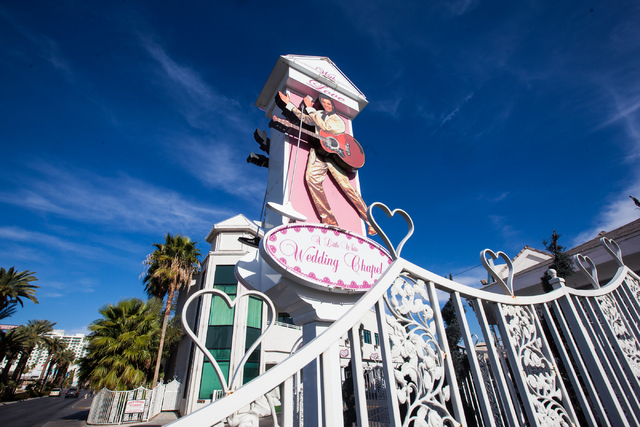 The exterior of A Little White Wedding Chapel, 1301 S. Las Vegas Blvd., is seen in Las Vegas on Wednesday, Dec. 10, 2014. (Chase Stevens/Las Vegas Review-Journal)