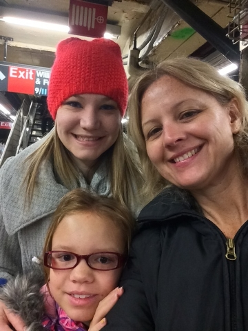 On the subway with my girls. (Courtesy Lori Cox))