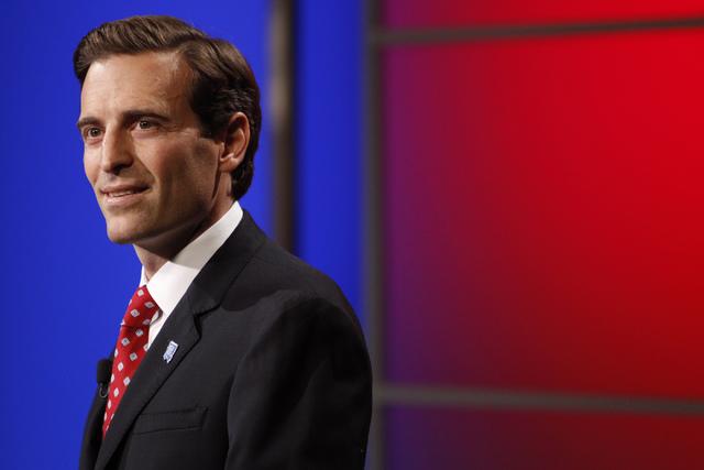 Adam Laxalt participates during a debate against his opponent Ross Miller at Vegas PBS in Las Vegas Friday, Oct. 10, 2014. (Erik Verduzco/Las Vegas Review-Journal)